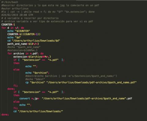 Listar carpetas en bash y convertir jpf a pdf